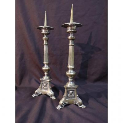 Paire De Piques-cierges En Bronze Argenté. Epoque XIXème