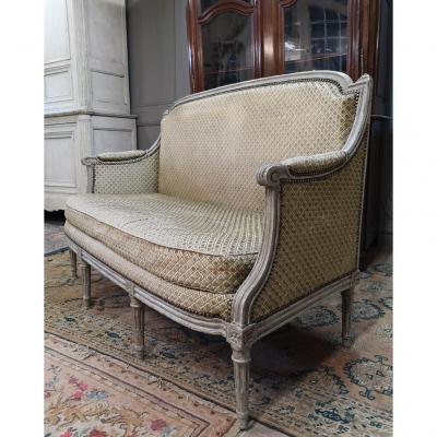Canapé d'époque Louis XVI En Bois Peint. XVIIIème.