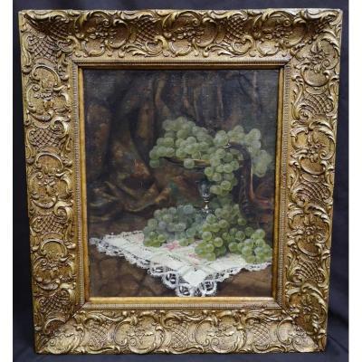 Tableau Huile Sur Toile. Nature Morte Aux Raisins. XIXème.