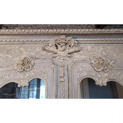 Bibliothèque Normande En Chêne Peint. Epoque Fin XVIIIe