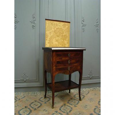 Table Chiffonnière à écran De Style Louis XV En Marqueterie