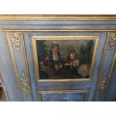 Trumeau En Bois Peint Et Doré d'époque Louis XV