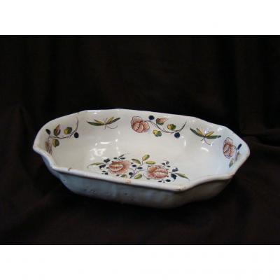 Bowl In Rouen Earthenware With Cut Sides. 18th Century