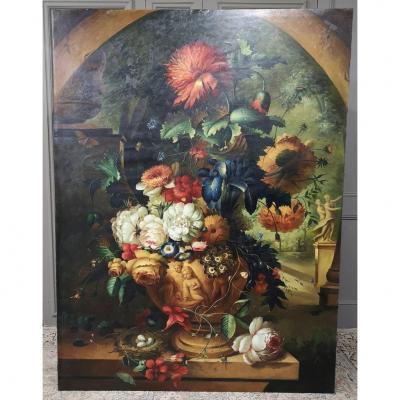 Très Grande Huile Sur Toile. Bouquet. 2m X 1.50m