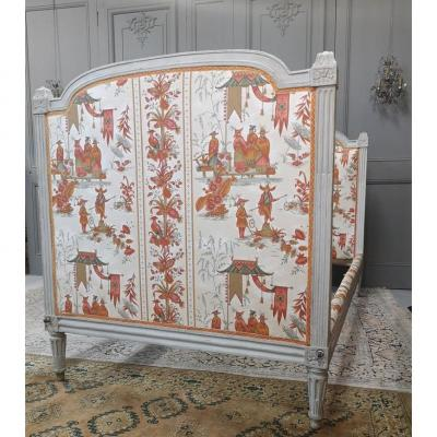 Louis XVI Period Bed Light Gray Lacquered