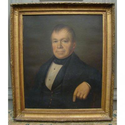 Portrait d'Homme. Huile Sur Toile d'époque Louis Philippe