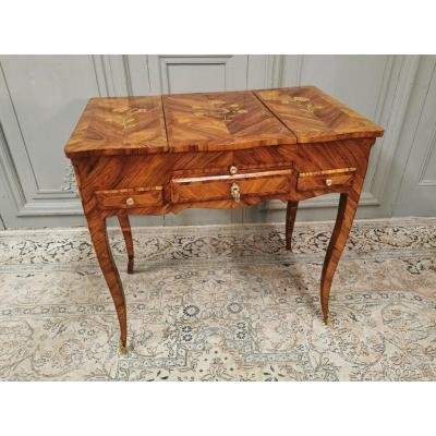 Dressing Table Louis XV In Marquetry. Middle XVIII