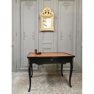Table à Jeux Louis XV Laquée Noire. Epoque Milieu XVIIIème