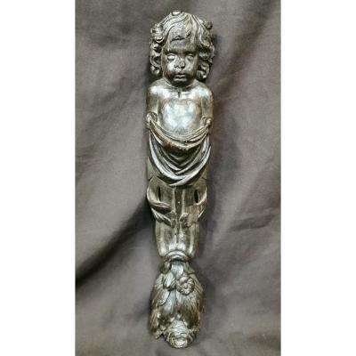Cariatide En Chêne Sculpté à Tête d'Ange