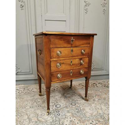 Rare Watercolor Table In Walnut Louis XVI Period. Late 18th Century