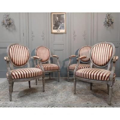 Suite Of Four Louis XVI Period Armchairs. Late 18th Century