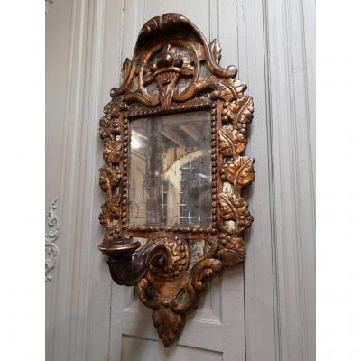 Miroir Italien à Bras De Lumière En Bois Sculpté Et Doré. Epoque  XVIIIème