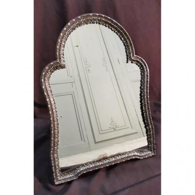 Silver Metal Table Mirror. Period Early XIXth
