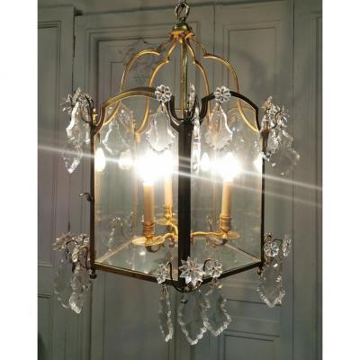 Grande Lanterne En Bronze Doré Et Cristaux De Style Régence. Epoque XVIIIème