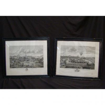 Paire De Gravures De Helman d'Après L. Watteau. Epoque Début XIXème
