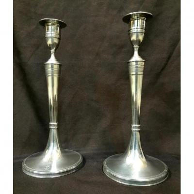 Pair Of Armorial Candlesticks, Empire Period In Sterling Silver