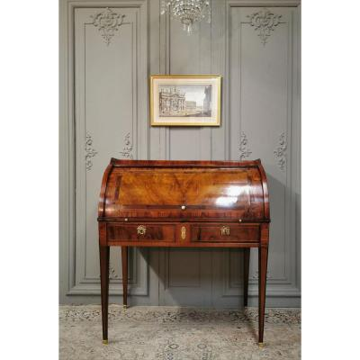 Louis XVI Period Cylinder Desk In Marquetry. Late 18th Century