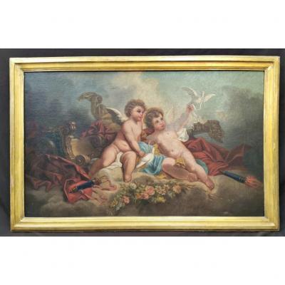 """Huile sur toile """"deux angelots aux colombes"""". Epoque début XIXème."""