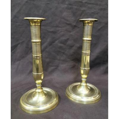 Pair Of Candlesticks Of Directoire Period In Chiseled Bronze. Late 18th Century