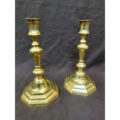 Pair Of Bronze Candlesticks In Crowned C. 18th Century.