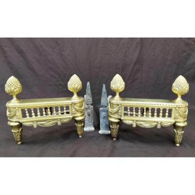 Paire De Chenets En Bronze Poli d'époque Louis XVI