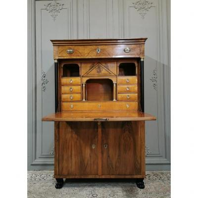 Biedermeier Secretary With Empire Period Coat Of Arms. Early XIXth