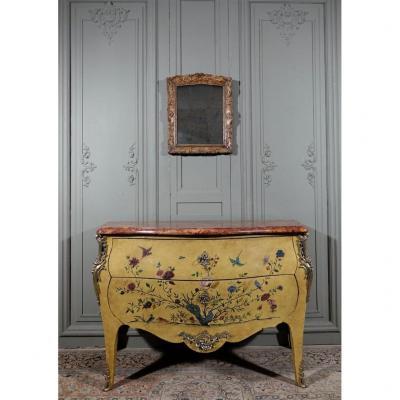 Commode à Fond Jonquille De Style Louis XV.  Epoque Fin XIX / Début XXème