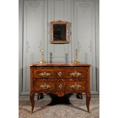 Regency Period Sauteuse Commode In Marquetry