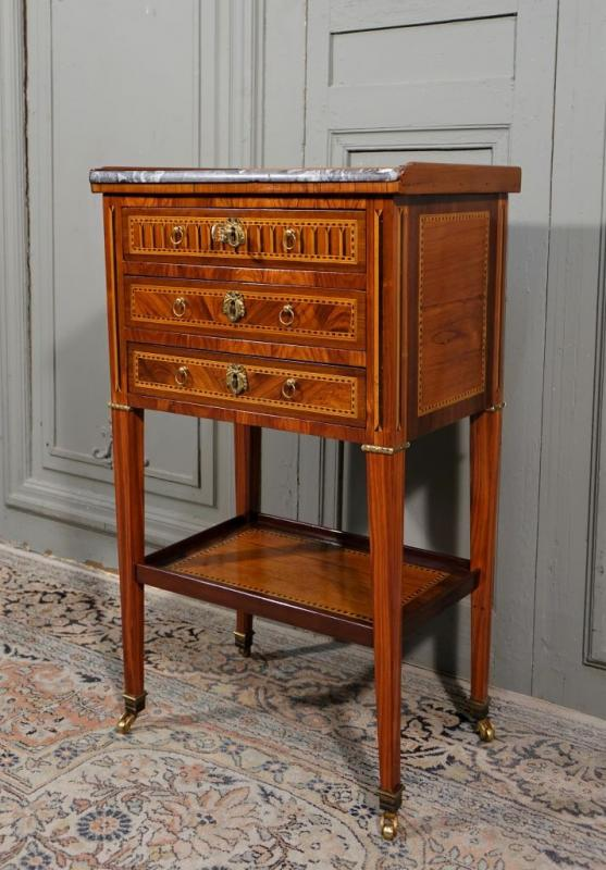 Louis XVI Period Chiffonnière Table In Marquetry-photo-2