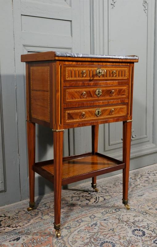 Louis XVI Period Chiffonnière Table In Marquetry-photo-3