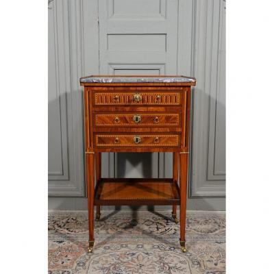 Table Chiffonnière d'époque Louis XVI En Marqueterie