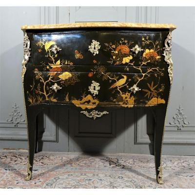 Louis XV Relaquée Sauteuse Commode Stamped C. Chevallier
