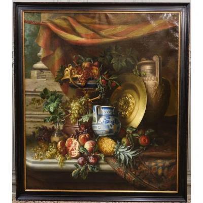 Grande Nature Morte Aux Fruits Signée Felix Thomas (1815-1875)