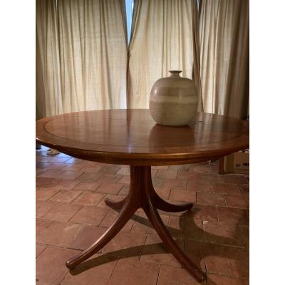 Danish / Suede Blond Mahogany Dining Table 1960
