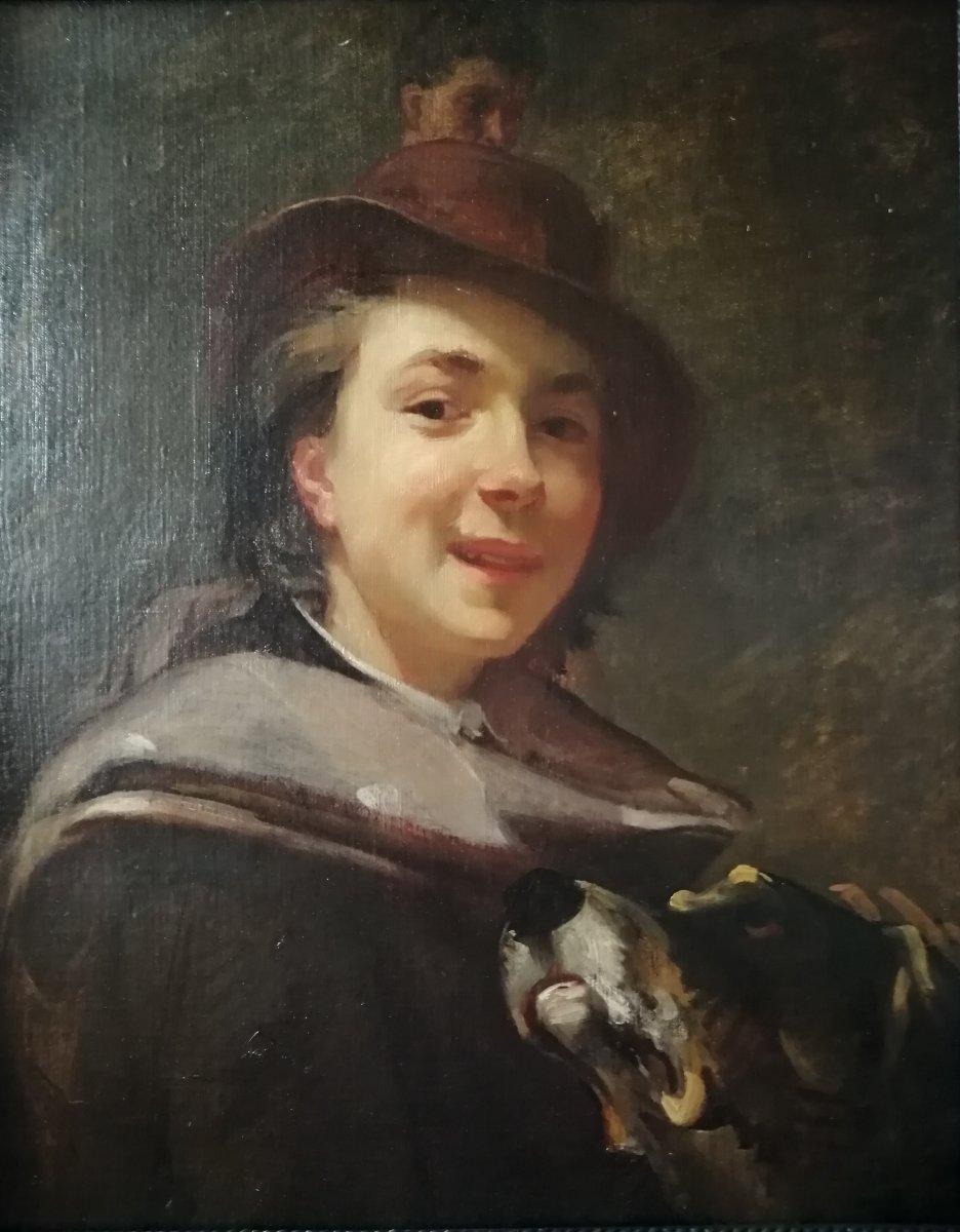 """Huile sur toile 19ème """"Jeune homme au chien"""""""