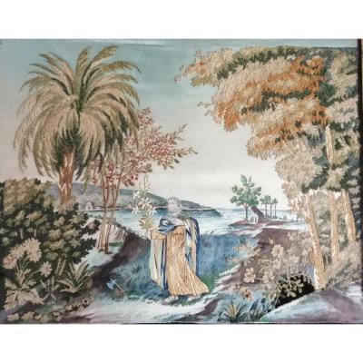 Soie Brodée Sur Fixé Sous Verre Noir Et Or d'époque Charles X (1839)