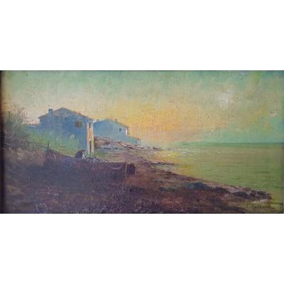 """ROUBAUD Jean Baptiste HST  """"L'étang de Berre"""" 1904"""