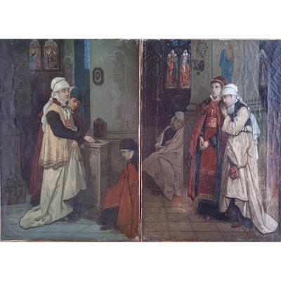 """Dumont François (1850-?) """"Rencontre à l'entrée de l'église"""""""