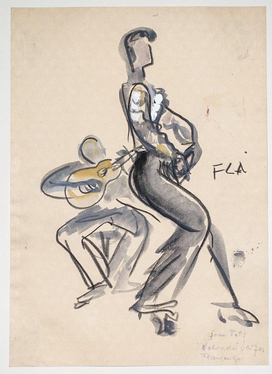 l'Opéra de Paris – Danse – Flamenco – gouache & aquarelle – Vargas Flamenco