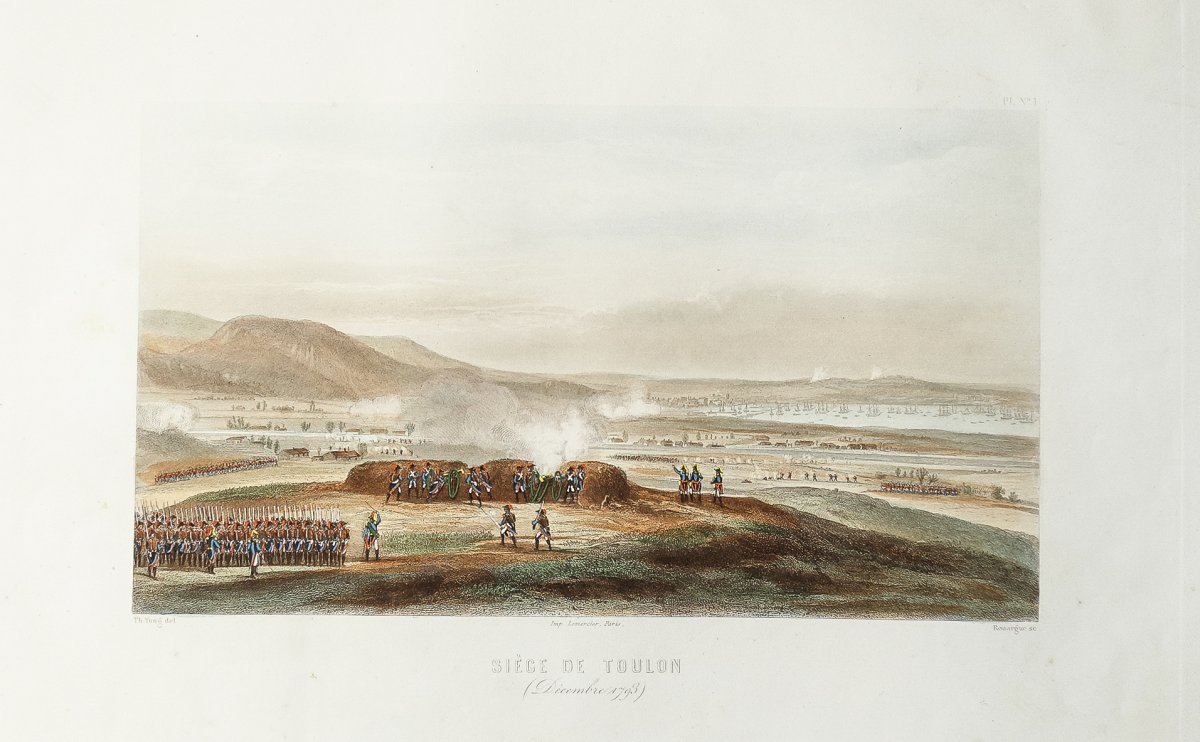 Napoleonic Battle - Siege Of Toulon In 1793 - Old Engraving