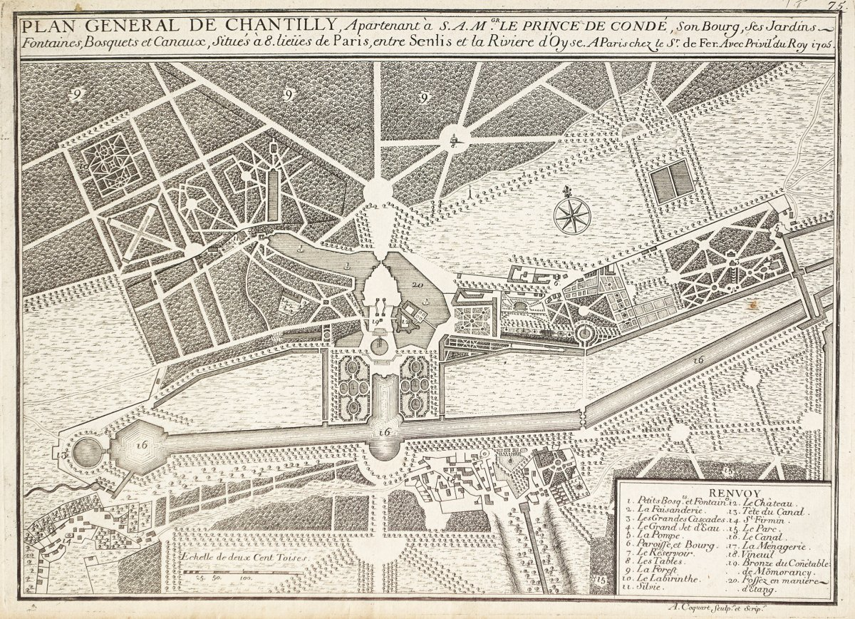 Antique Plan Of Chantilly