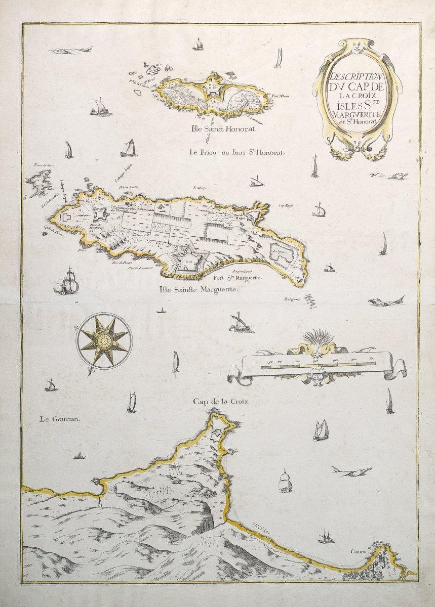 Carte marine ancienne de Cannes, pointe de Juan les Pins – Ile Sainte Marguerite