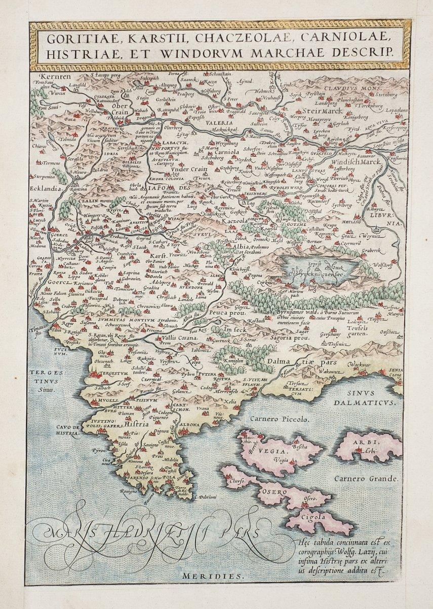 carte géographique ancienne de Croatie – Slovénie – Bosnie – Goritiae