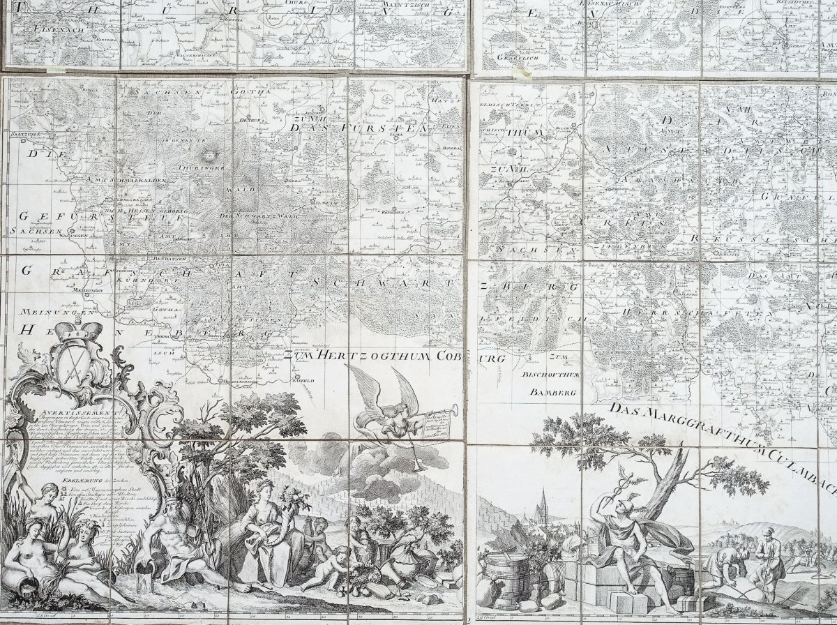 Saxe - Carte Géographique Ancienne-photo-3