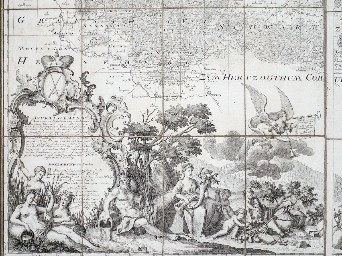 Saxe - Carte Géographique Ancienne-photo-4