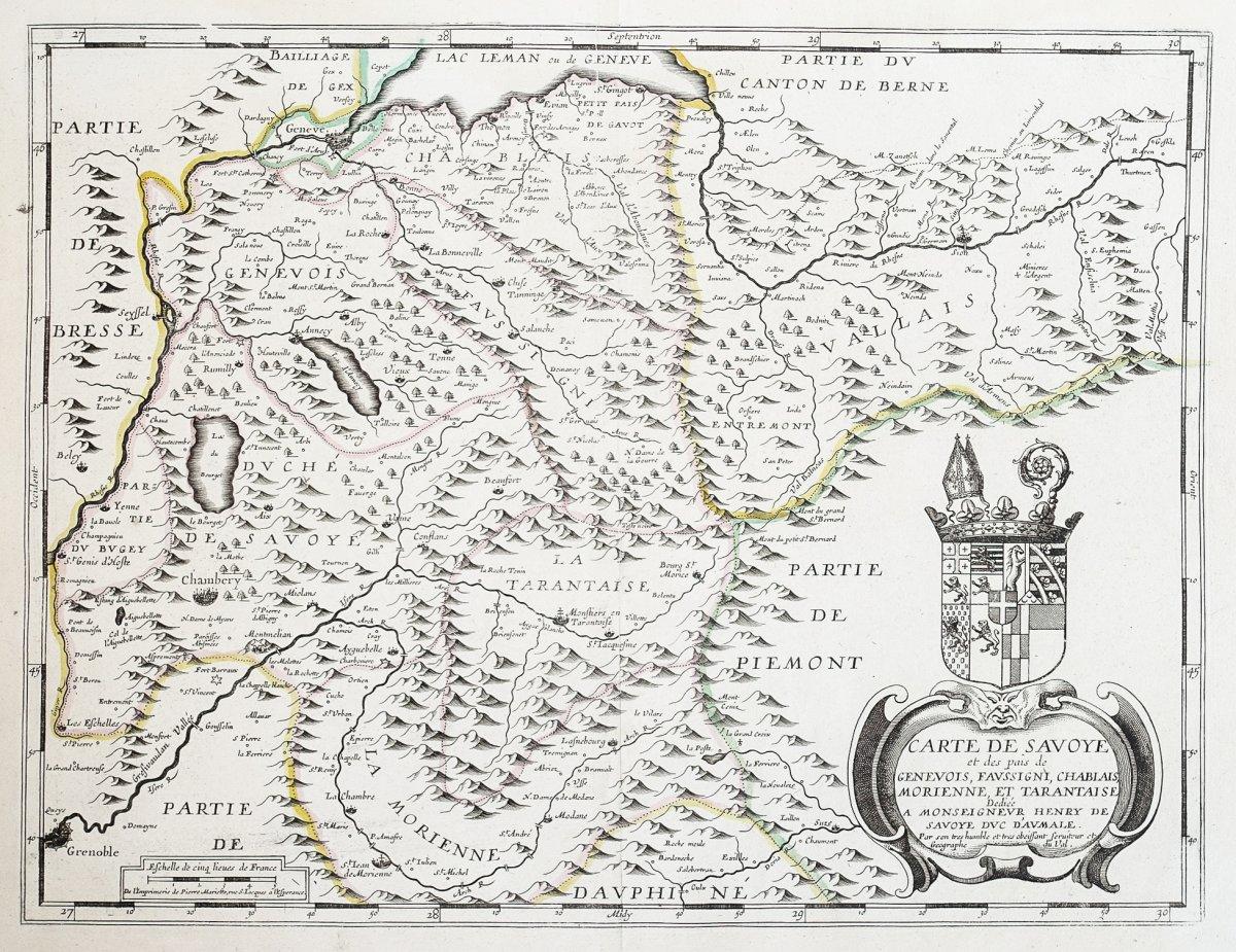 Carte géographique ancienne de Savoie