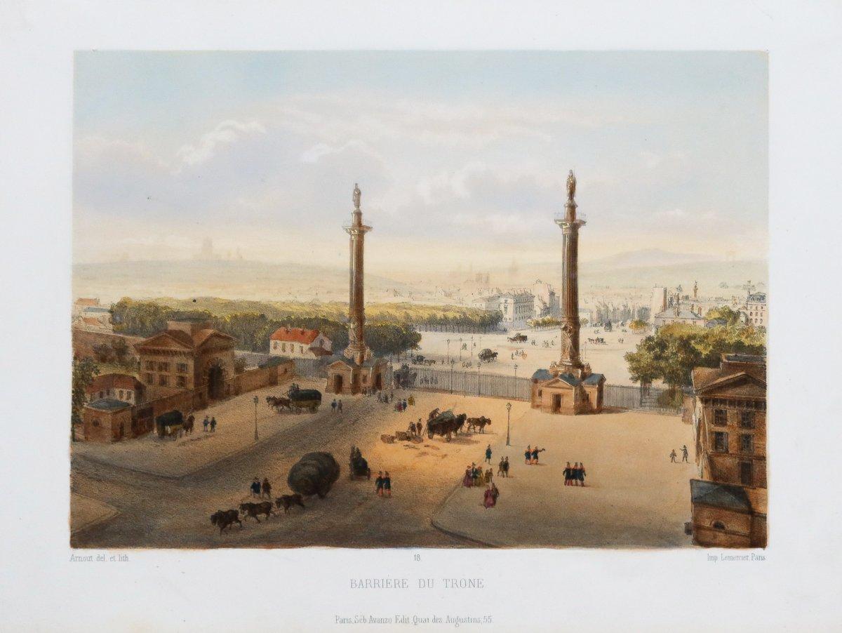 Lithographie ancienne – Barrière du trône - Place de la Nation