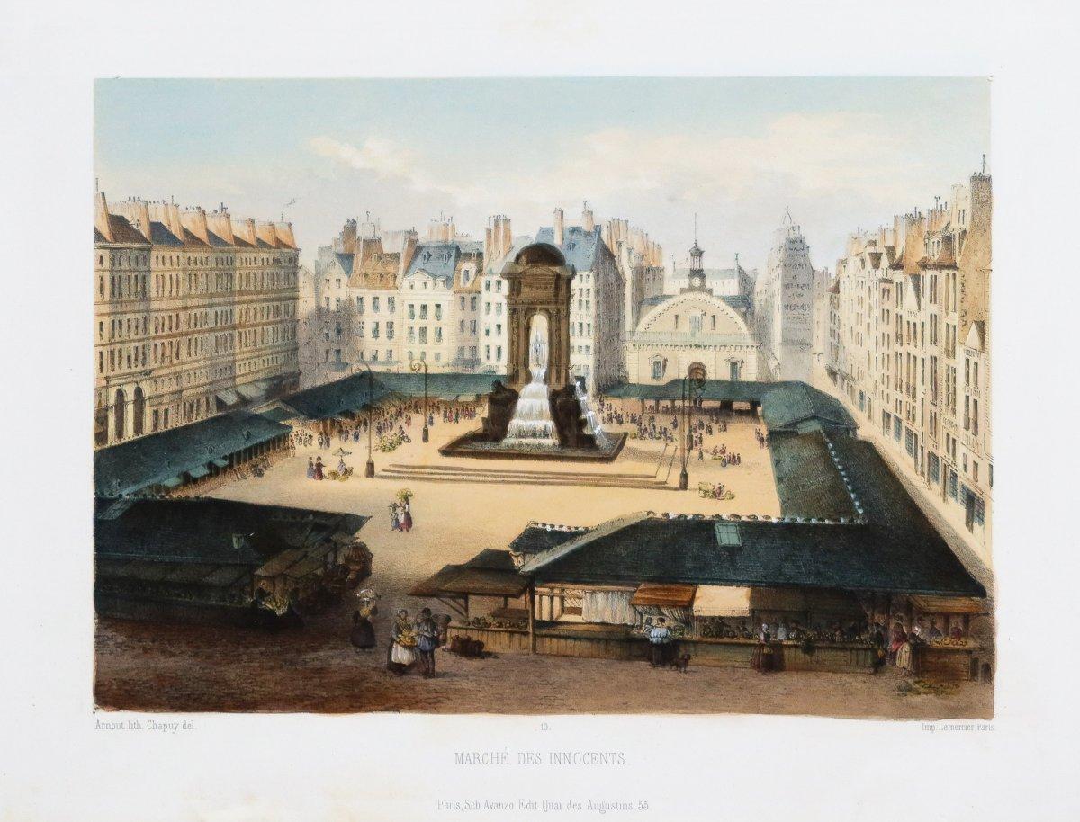 Lithographie ancienne - Marché des Innocents -  les halles -Paris