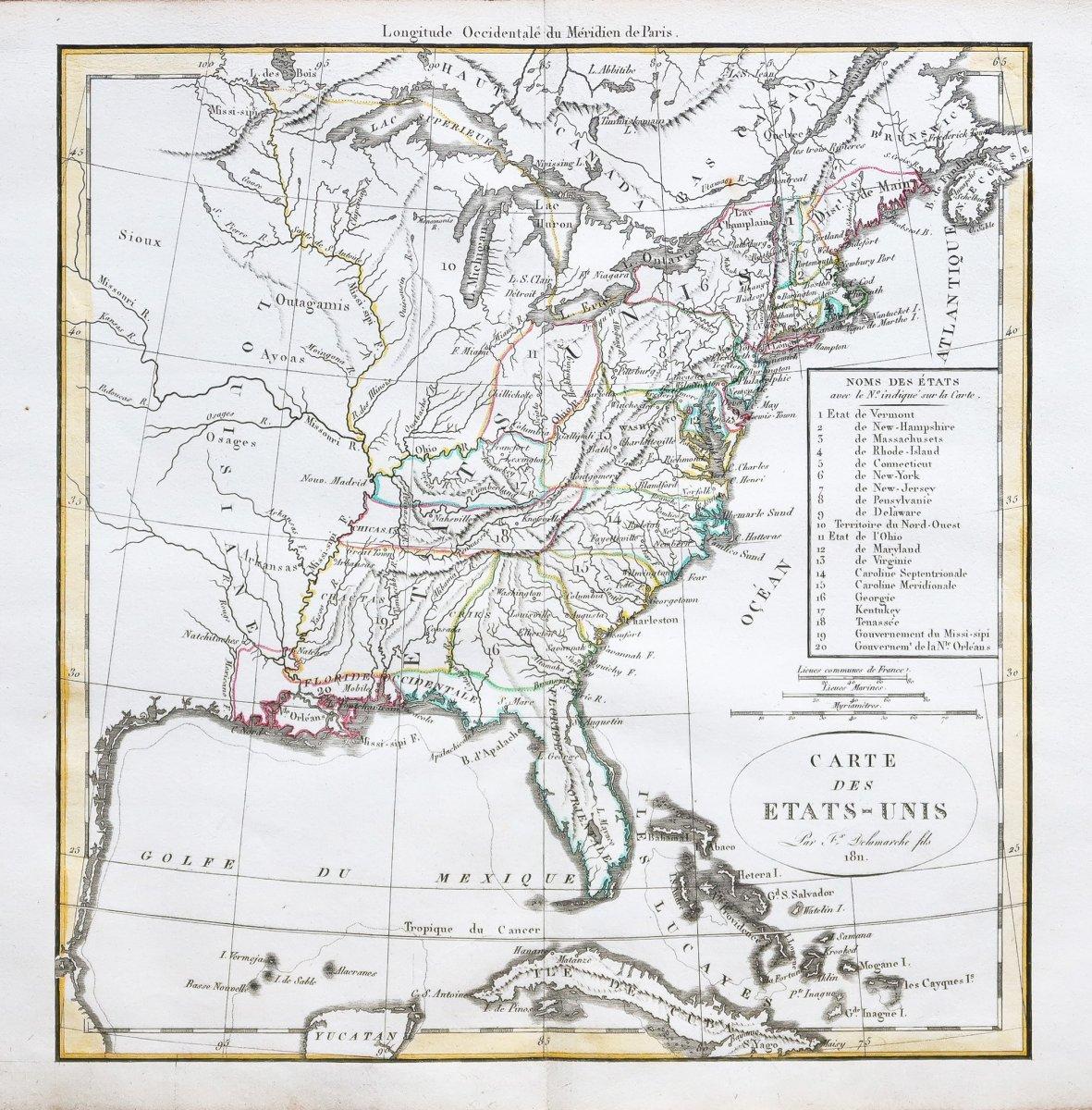 Carte géographique ancienne des  Etats-Unis