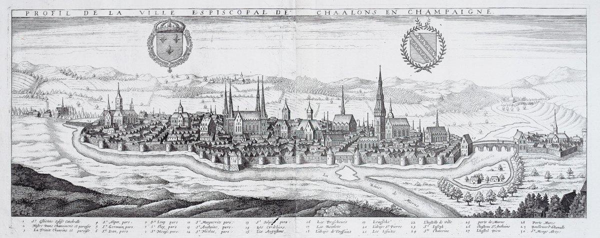 Profil de la ville Episcopal de Chalons en Champaigne - gravure ancienne
